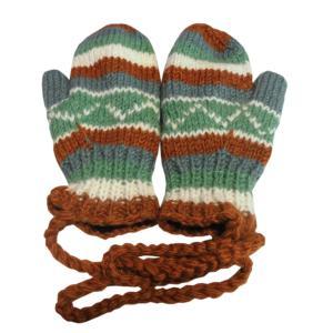 手袋 アジアン衣料 ネパール・ウール紐付きミトン手袋裏フリース付き36|e-bingo