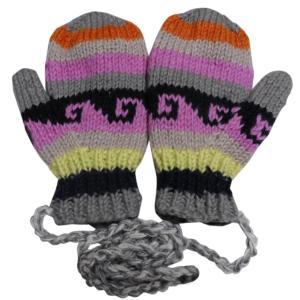 手袋 アジアン衣料 ネパール・ウール紐付きミトン手袋裏フリース付き37|e-bingo