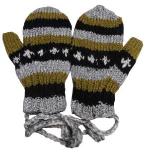 手袋 アジアン衣料 ネパール・ウール紐付きミトン手袋裏フリース付き38|e-bingo