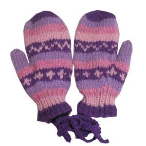 手袋 アジアン衣料 ネパール・ウール紐付きミトン手袋裏フリース付き4|e-bingo