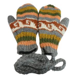 手袋 アジアン衣料 ネパール・ウール紐付きミトン手袋裏フリース付き5|e-bingo