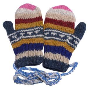 手袋 アジアン衣料 ネパール・ウール紐付きミトン手袋裏フリース付き6|e-bingo