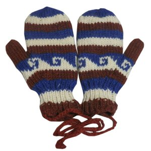 手袋 アジアン衣料 ネパール・ウール紐付きミトン手袋裏フリース付き7|e-bingo