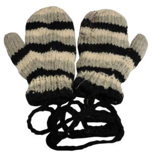 手袋 アジアン衣料 ネパール・ウール紐付きミトン手袋裏フリース付き8|e-bingo