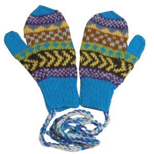 手袋 アジアン衣料 ネパール・ウール紐付きミトン手袋1|e-bingo