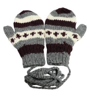 手袋 アジアン衣料 ネパール・ウール紐付きミトン手袋10|e-bingo