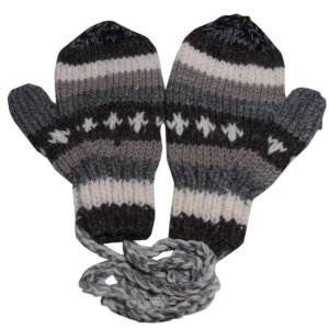 手袋 アジアン衣料 ネパール・ウール紐付きミトン手袋11|e-bingo