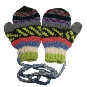 手袋 アジアン衣料 ネパール・ウール紐付きミトン手袋12 e-bingo