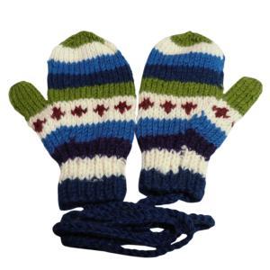 手袋 アジアン衣料 ネパール・ウール紐付きミトン手袋13|e-bingo