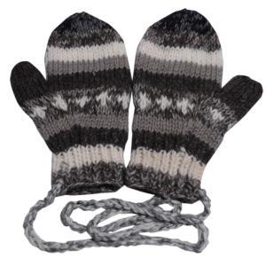 手袋 アジアン衣料 ネパール・ウール紐付きミトン手袋14 e-bingo