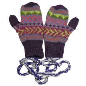 手袋 アジアン衣料 ネパール・ウール紐付きミトン手袋15|e-bingo