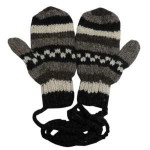 手袋 アジアン衣料 ネパール・ウール紐付きミトン手袋16|e-bingo