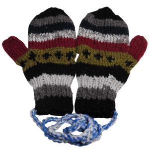 手袋 アジアン衣料 ネパール・ウール紐付きミトン手袋17|e-bingo
