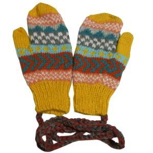 手袋 アジアン衣料 ネパール・ウール紐付きミトン手袋18|e-bingo