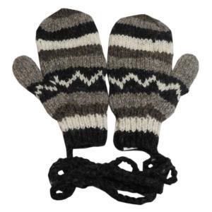 手袋 アジアン衣料 ネパール・ウール紐付きミトン手袋19|e-bingo