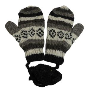 手袋 アジアン衣料 ネパール・ウール紐付きミトン手袋2|e-bingo