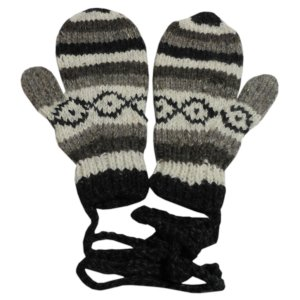 手袋 アジアン衣料 ネパール・ウール紐付きミトン手袋20|e-bingo