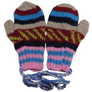 手袋 アジアン衣料 ネパール・ウール紐付きミトン手袋21|e-bingo