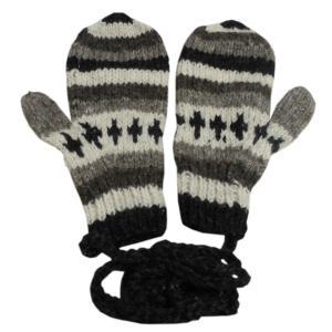 手袋 アジアン衣料 ネパール・ウール紐付きミトン手袋22|e-bingo