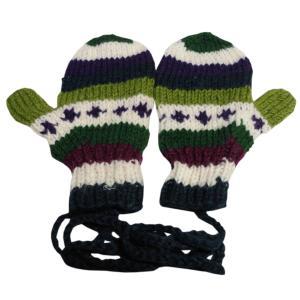 手袋 アジアン衣料 ネパール・ウール紐付きミトン手袋23|e-bingo