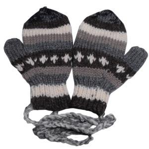 手袋 アジアン衣料 ネパール・ウール紐付きミトン手袋24|e-bingo