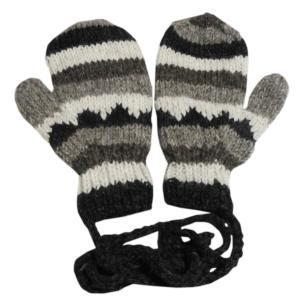 手袋 アジアン衣料 ネパール・ウール紐付きミトン手袋25|e-bingo