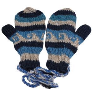 手袋 アジアン衣料 ネパール・ウール紐付きミトン手袋26|e-bingo