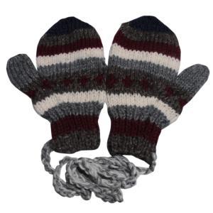 手袋 アジアン衣料 ネパール・ウール紐付きミトン手袋27|e-bingo