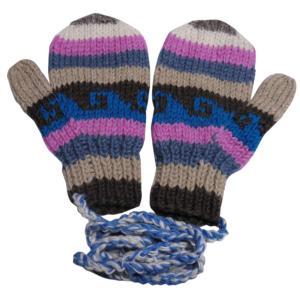 手袋 アジアン衣料 ネパール・ウール紐付きミトン手袋28|e-bingo