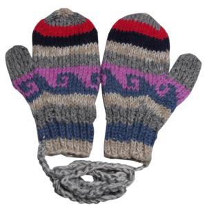 手袋 アジアン衣料 ネパール・ウール紐付きミトン手袋29|e-bingo