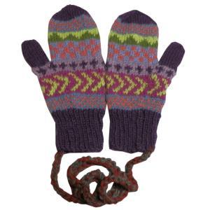 手袋 アジアン衣料 ネパール・ウール紐付きミトン手袋3|e-bingo