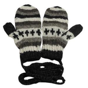 手袋 アジアン衣料 ネパール・ウール紐付きミトン手袋30|e-bingo