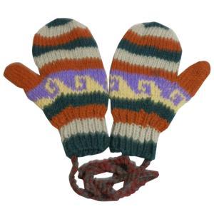 手袋 アジアン衣料 ネパール・ウール紐付きミトン手袋4|e-bingo