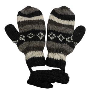 手袋 アジアン衣料 ネパール・ウール紐付きミトン手袋5|e-bingo