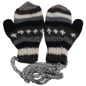 手袋 アジアン衣料 ネパール・ウール紐付きミトン手袋6|e-bingo