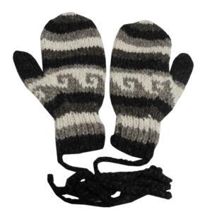 手袋 アジアン衣料 ネパール・ウール紐付きミトン手袋8|e-bingo