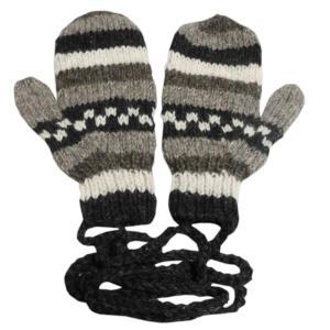 手袋 アジアン衣料 ネパール・ウール紐付きミトン手袋9|e-bingo