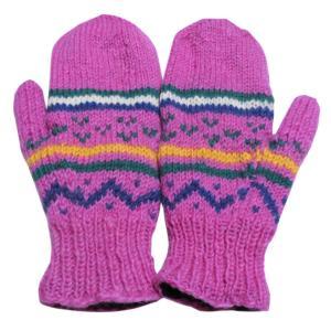 手袋 アジアン衣料 ネパール・ウール・ミトン手袋 裏フリース付き1|e-bingo