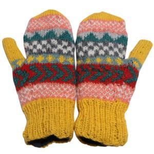 手袋 アジアン衣料 ネパール・ウール・ミトン手袋 裏フリース付き10|e-bingo