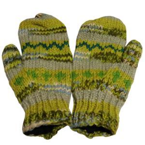手袋 アジアン衣料 ネパール・ウール・ミトン手袋 裏フリース付き12|e-bingo