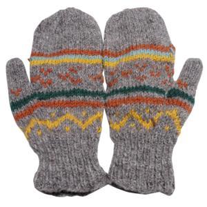 手袋 アジアン衣料 ネパール・ウール・ミトン手袋 裏フリース付き13|e-bingo