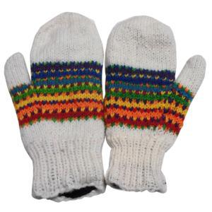 手袋 アジアン衣料 ネパール・ウール・ミトン手袋 裏フリース付き14|e-bingo