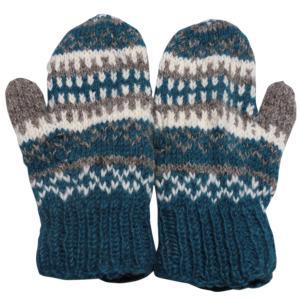 手袋 アジアン衣料 ネパール・ウール・ミトン手袋 裏フリース付き15|e-bingo