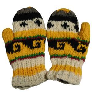 手袋 アジアン衣料 ネパール・ウール・ミトン手袋 裏フリース付き17|e-bingo