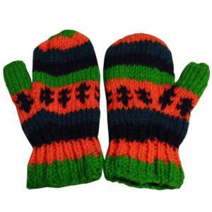 手袋 アジアン衣料 ネパール・ウール・ミトン手袋 裏フリース付き18|e-bingo