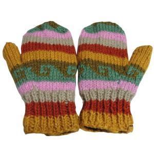 手袋 アジアン衣料 ネパール・ウール・ミトン手袋 裏フリース付き19|e-bingo