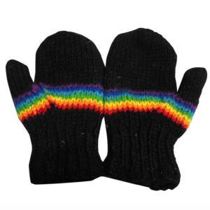 手袋 アジアン衣料 ネパール・ウール・ミトン手袋 裏フリース付き21|e-bingo