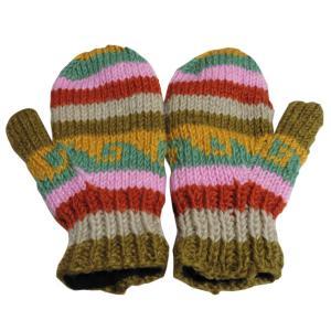 手袋 アジアン衣料 ネパール・ウール・ミトン手袋 裏フリース付き22|e-bingo