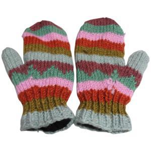 手袋 アジアン衣料 ネパール・ウール・ミトン手袋 裏フリース付き24|e-bingo