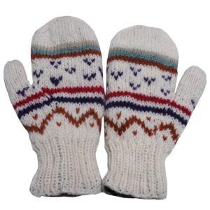 手袋 アジアン衣料 ネパール・ウール・ミトン手袋 裏フリース付き3|e-bingo
